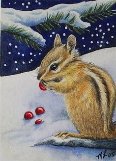 Chipmunk and Winter Berries ACEO 1462