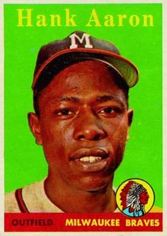 The Great Hank Aaron! Wish I owned this one >> 1958 Topps Baseball Cards | 1958 Topps Baseball Cards - Cardboard Connection Hank Aaron, Baseball Classic, Softball, Braves Baseball, Baseball Players, Mlb Players, Baseball Card Values, Baseball Cards, Negro League Baseball