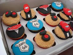 Every little boy needs to have at least one of his birthdays dedicated to cars. Car Party, Birthdays, Cupcakes, Cars, Desserts, Food, Anniversaries, Tailgate Desserts, Cupcake Cakes