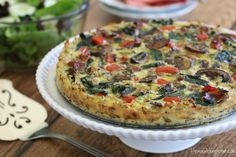 This Hearty Veggie Quiche with hash Brown Crust isn't just for breakfast or brunch – it also makes a wonderful light dinner served with a mesclun greens salad and a side of fresh fruit. Paleo Recipes, Real Food Recipes, Cooking Recipes, Quiche With Hashbrown Crust, Veggie Frittata, Sausage Frittata, Veggie Sausage, Whole Foods Meal Plan, Whole 30 Breakfast