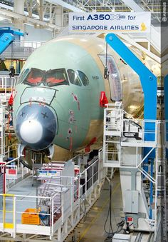 Final assembly of the 1st Airbus A350 XWB for Singapore Air