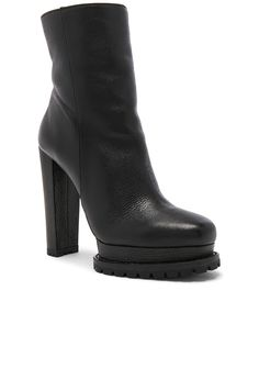Alice + Olivia Holden Sheep Fur Bootie in Black | REVOLVE