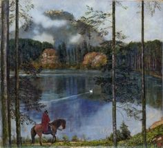 Ride to the Grail Castle by Hans Thoma,1897; in this realm, time becomes space (Zum Raum wird hier die Zeit)