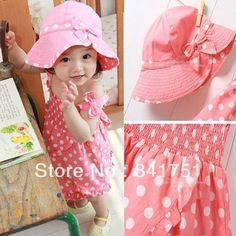 Dress Free&Drop Shipping Baby Kids Girl Pink Dot Outfit Costume 3pcs Dress+Pants+Hat Set Clothes 0-36M
