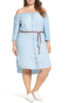 Plus Size Chambray Off the Shoulder Shirtdress