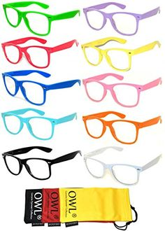 b0d96f5208b Retro Style Vintage Clear Lens Sunglasses Colored Frame 10 Pack OWL    Read  more reviews