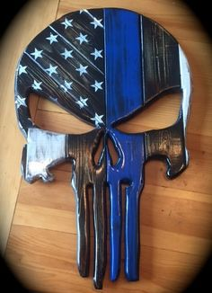 Punisher Skull Police Blue Line or Any Color by WulfCreekDesigns Woodworking Projects Diy, Diy Wood Projects, Wood Crafts, American Flag Wood, Wood Flag, Flag Art, Color Lines, Scroll Saw, Blue Line