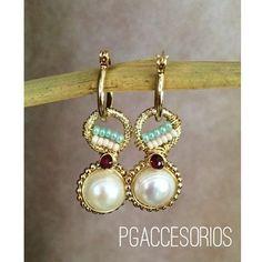 PG #pgaccesorios #chapadeoro #aretes #arracadas #earrings #hoops #handmadejewerly #handmadeearrings #handmade #hechoamano #joyeria #perlas #granate #losmochis #sinaloa
