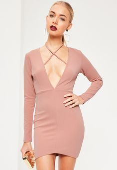 Missguided - Pink Tie Neck Plunge Long Sleeve Bodycon Dress