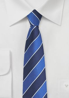 Slim Cut Repp Striped Tie in Navy and Blue