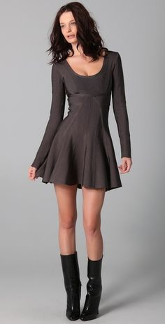 Long Sleeve Dress with A Line Skirt and Boots. I like the dress and boots look is so cool.