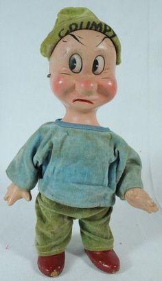 1930's Disney Knickerbocker Toy Co. Composition Doll Snow White Dwarfs Grumpy