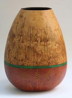 Snow Geese pyrography wood burned Gourd Vase por JRAGourdArt
