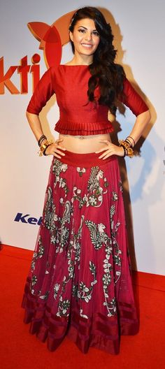 Jacqueline in maroon lehenga with crop top