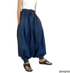 Cotton Denim Chambray Harem Pant Drop Crotch Trouser by Fashionsup
