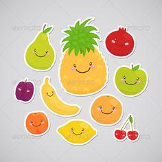Fruit Stickers #GraphicRiver Cute fruit, set: apple, pear, lemon, orange, plum, cherry, pineapple, peach, banana, pomegranate.
