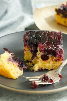 This light but satisfying fruit and cornmeal upside-down cake is a dish that can be shopped for at lunch and cooked without too much fanfare after work.