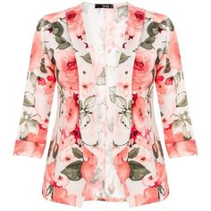 Quiz White Floral Print Crepe Blazer ($19) ❤ liked on Polyvore featuring outerwear, jackets, blazers, coats, floral, sale, white, summer jacket, 3/4 sleeve white blazer and 3/4 sleeve blazer