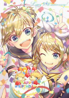 Still looking for the art! Made Rin and Len look so cute! Hatsune Miku, Lens, Happy Birthday, Cute, Anime, Happy Brithday, Urari La Multi Ani, Kawaii, Klance