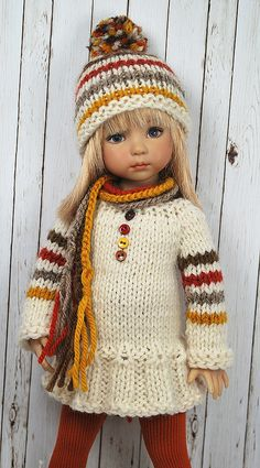 Knitting Dolls Clothes, Ag Doll Clothes, Crochet Doll Clothes, Knitted Dolls, Crochet Dolls, Madame Alexander Dolls, American Girl Clothes, Baby Sweaters, Baby Knitting Patterns