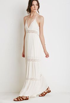 """Just bought this - super cute!  Very good price for a beach dress!!  Small fits like an xs although a little long for my 5'2"""" height - I think it will shrink perfectly if I wash it..   #petitestyle #obsessedwithwhite  Crocheted Halter Maxi Dress 