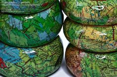 Decoupaged Map Wooden Bangles