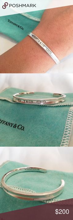 Tiffany and Co. 1837 Cuff. Sterling Silver Pre-loved Tiffany and Co. bangle! Comes with free polishing pad and Tiffanys soft Pouch. ❤️ has tiny, hardly noticeable scratches. Proudly inscribed with the year Tiffany was founded, the Tiffany 1837® collection is defined by sleek curves and contours. This simple design is elegant and sophisticated. Tiffany & Co. Jewelry Bracelets
