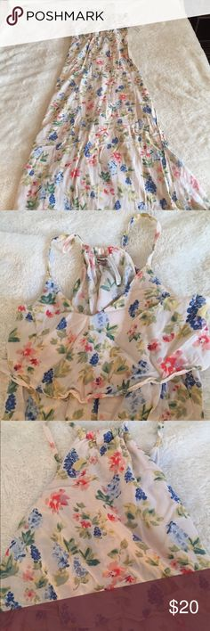 "LC Floral Maxi Dress LC Lauren Conrad Floral Maxi Dress | 100% Rayon | Side Slit From Bottom Hem to Just Below Knee (5'2"" Girl) 