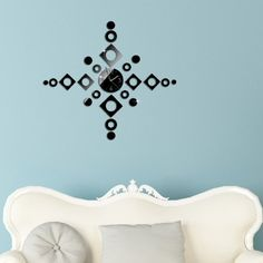 Moderno DIY grande 3D orologio da parete, Ouneed® Orologio da Parete Moda Geometrica Adesivi Murali Time Art Decorazione della Casa fai da te (A1)