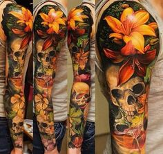 Now THAT is a sleeve. #ink #inked #colorful #skull #flower #lilytattoo #flowertattoo #fullsleeve #detailed #tattooappreciation #girlswithink #guyswithtattoos #tattoo #nooutline