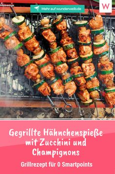 Weight Watchers: 5 neue Grill-Rezepte These grilled skewers look really tempting and you can enjoy them in spite of your diet! Barbecue Recipes, Grilling Recipes, Simple Elegant Wedding, Wonder Woman, Chicken Wings, Carne, The Best, Chipotle, Low Carb