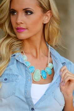 Shades of Jade Statement Necklace from Closet Candy Boutique