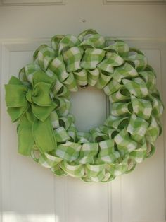 St. Patricks Day Spring Easter Faux Burlap Green Gingham Wreath by TowerDoorDecor, $30.00