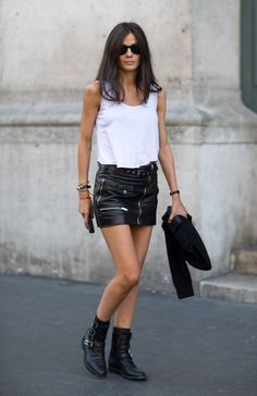 Streetstyle during PFW, Spring 2014  Barbara Martelo, with Saint Laurents boots, too cool for school....