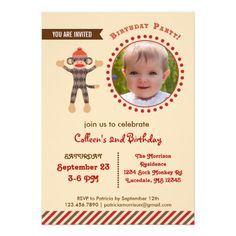 Custom Photo Sock Monkey Birthday Photo Invitation