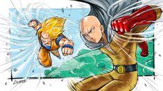 Goku Vs Saitama By Clemper by clemper on DeviantArt Strong Character, Character Art, Saitama One Punch Man, Goku Vs, Super Saiyan, Anime Stuff, Dbz, Crossover, Drawing Ideas