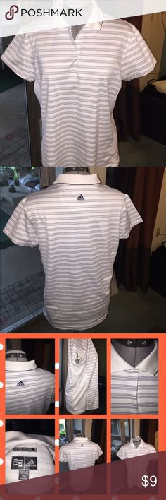 Ladies golf shirt XL Ladies golf shirt white with black and grey design. 95% Polyester 5% Spandex. Good condition Adidas Tops