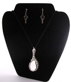 Mirror Pendant w/ Mirror Earrings by epichette on Etsy, $30.00