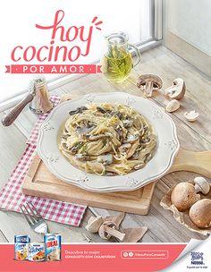 Campaña Ideas para consentir Nestlé, Spaghetti con champiñones. Fotografía: Esteban Brocos