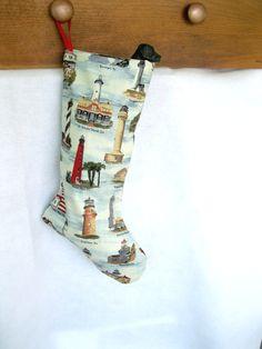 Lighthouse Christmas Stocking  Handmade Stocking by IceboxsYard