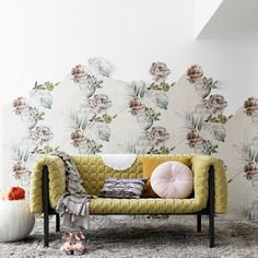 Wallpaper cut to create design - clever! Could work in area of girls room or nook area