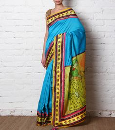 Turquoise Hand Painted Chanderi Silk Saree