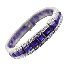 Art Deco Sapphire, Diamond and Platinum Line Bracelet | From a unique collection of vintage more bracelets at http://www.1stdibs.com/jewelry/bracelets/more-bracelets/