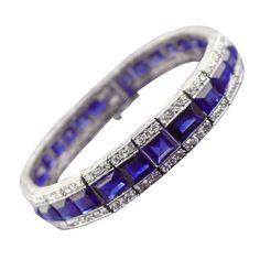 Art Deco Sapphire, Diamond and Platinum Line Bracelet   From a unique collection of vintage more bracelets at http://www.1stdibs.com/jewelry/bracelets/more-bracelets/