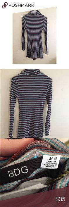 Striped Turtleneck Dress - FROM URBAN OUTFITTERS, SIZE MEDIUM Urban Outfitters Dresses