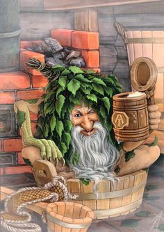 Bannik...by Vladimir Arzhevitin....Bannik is a bathhouse spirit in Slavic folklore. It frightens people, thus to appease the Bannik, people leave him a piece of rye bread with lots of coarse salt.