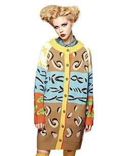 Elf Sack Ladies Winter Leopard Print Long Knitted Sweater... http://a.co/4E2EGQ7