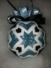 Handmade Quilted Star Christmas Ornament Black Blue and White