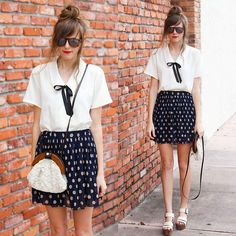 Polka dots + red lips. (by Steffy Kuncman) http://lookbook.nu/look/3557145-polka-dots-red-lips Pretty Outfits, Beautiful Outfits, Cute Outfits, Fashion Sites, Fashion Outfits, Black Neck, Shirt Dress, Blouse, Red Lips