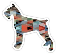 Giant Schnauzer Dog Colorful Geometric Pattern Silhouette - Plaid by TriPodDogDesign